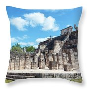 Chichen Itza Temple Of The Warriors Throw Pillow