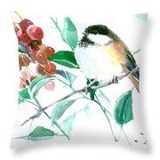Chickadee And Berries Throw Pillow