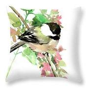 Chickadee And Spring Blossom Throw Pillow