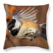 Chickadee Blurrrr Throw Pillow