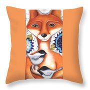 Chickadee Fox Throw Pillow