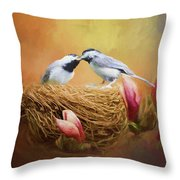 Chickadee Lunch Throw Pillow