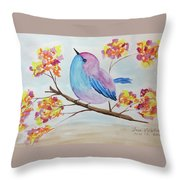 Chickadee On A Branch With Head Up Throw Pillow