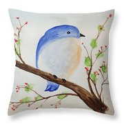 Chickadee On A Branch With Leaves Throw Pillow