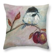 Chickadee On An Apple Tree Throw Pillow