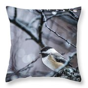Chickadee Rain Throw Pillow