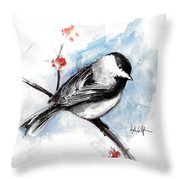 Chickadee Spring Throw Pillow