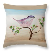 Chickadee Standing On A Branch Looking Throw Pillow