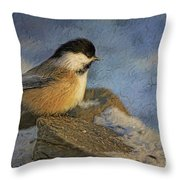 Chickadee Winter Perch Throw Pillow