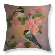 Chickadees And Roses Throw Pillow