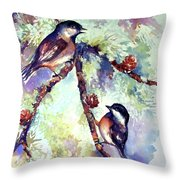 Chickadees On Twig Throw Pillow