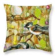 Chickadees Three Throw Pillow
