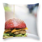 Chicken Burger With Gherkins Beetroot Bread Bun Throw Pillow