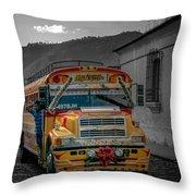 Chicken Bus - Antigua Guatemala Throw Pillow