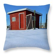 Chicken Coop In Snow Covered Field Throw Pillow