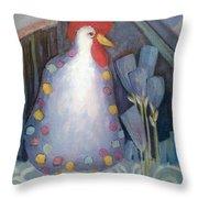Chicken In My Garden Throw Pillow