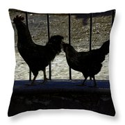 Chicken In Silhousette Throw Pillow