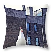 Chicken Little In Manhattan Throw Pillow