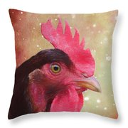 Chicken Portrait - Painting Throw Pillow