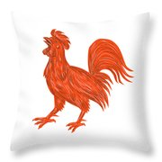 Chicken Rooster Crowing Drawing Throw Pillow