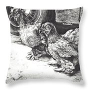 Chickens Crossing The Road Throw Pillow