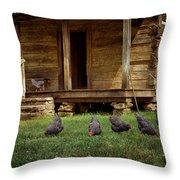 Chickens - Log House - Farm Throw Pillow