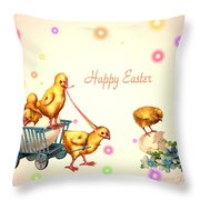 Chicks And Eggs - Happy Easter Throw Pillow
