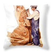 Chief Mungo Martin Totem Carver Throw Pillow
