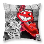 Chief Wahoo Sluggin Throw Pillow