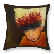 Chief Wannabee #2, Native American Indian Child   Throw Pillow