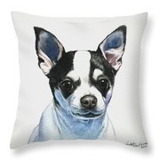 Chihuahua Black Spots With White Throw Pillow