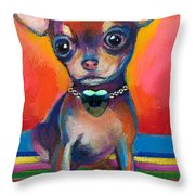 Chihuahua Dog Portrait Throw Pillow