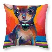Chihuahua Dog Portrait Throw Pillow by Svetlana Novikova