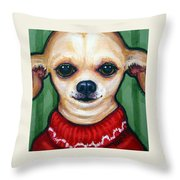 Chihuahua In Red Sweater - Boss Dog Throw Pillow