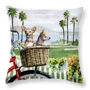 Chihuahuas In A Bike Basket Throw Pillow