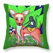 Chihuahuaw/monkie Throw Pillow