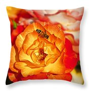 Chihuly Rose With Bee Throw Pillow