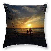 Child And Grandmother At Ft Desoto Throw Pillow