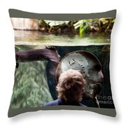 Child And Ray Fish In Paludarium Throw Pillow