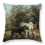 Child And Sheep In The Country Throw Pillow