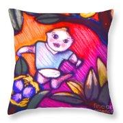 Child Gazing Throw Pillow