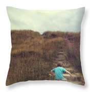 Child On Stairs On Beach Throw Pillow