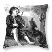 Child Playing Violin Throw Pillow