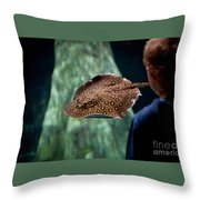 Child Watching Spotted Ray Fish Throw Pillow