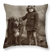 Child With Dog, C1885 Throw Pillow