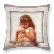 Child With Jewelry Throw Pillow