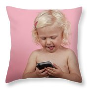Child With Smartphone  Throw Pillow