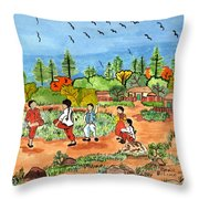 Childen At Play Throw Pillow