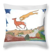 Childhood Drawing Cougar Attacking Deer Throw Pillow