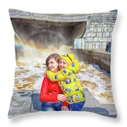 Children And A Rainbow Throw Pillow